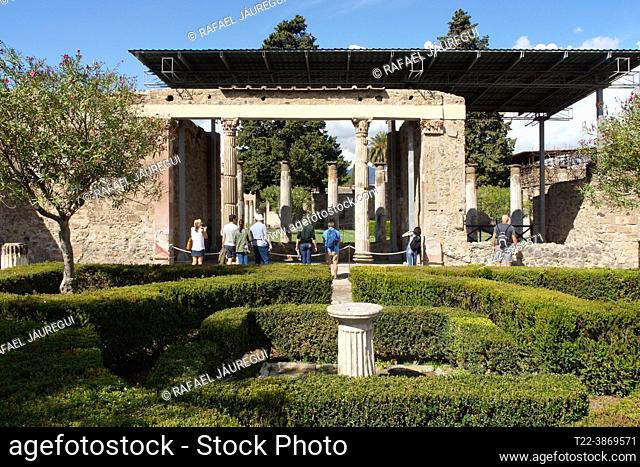 Pompeii (Italy). Garden area of a house in the city of Pompeii
