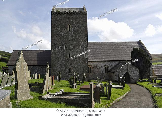 St Cenydd's church at Llangennith on the Gower Peninsula Wales UK