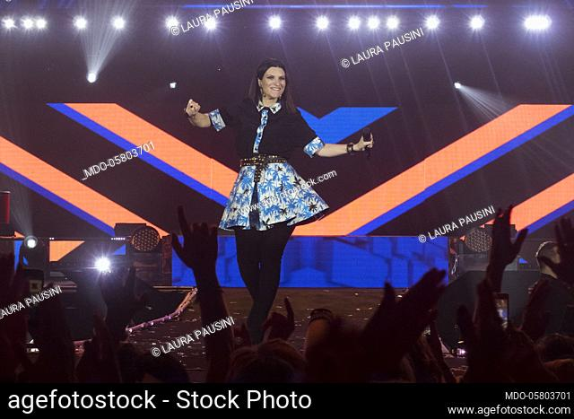 "Laura Pausini on the stage of the Rds Stadium in Rimini for her concert on the occasion of her """"Fatti Hear World Tour"". Rimini, September 17th, 2018"