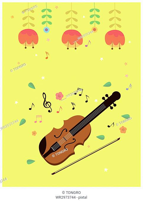 Violin with flowers and music notes