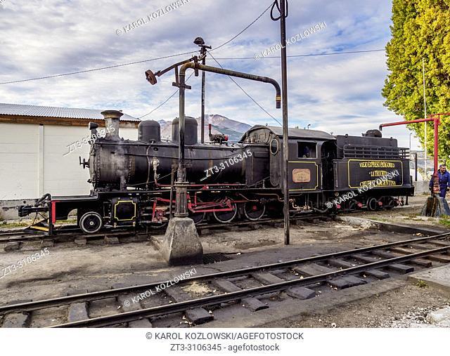 Old Patagonian Express La Trochita, steam train taking water, Esquel Train Station, Chubut Province, Patagonia, Argentina