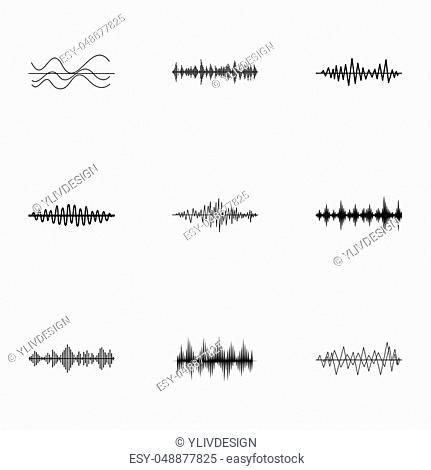 Music icons set. Simple illustration of 9 music icons for web