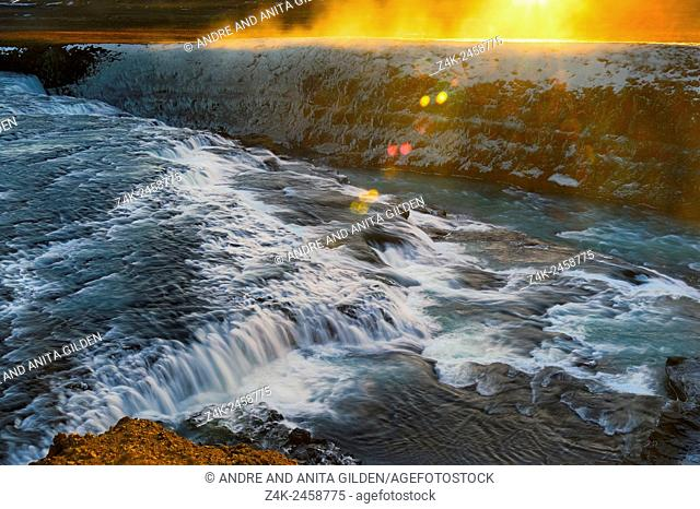Gulfoss with sunrise in winter on Iceland