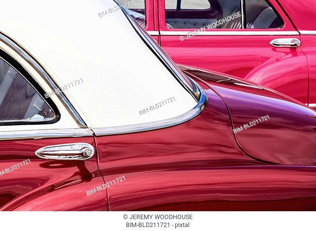 Close up of vintage cars, La Habana, Havana, Cuba