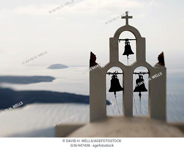 Close up of Greek Orthodox church in Imerovigli, Santorini, Greece