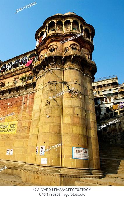 Buildings in front of the ghats on the Ganges river, Varanasi  Uttar Pradesh, India
