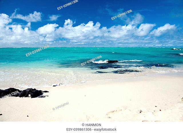Beautiful lagoon on Ile aux Cerfs near Mauritius Island