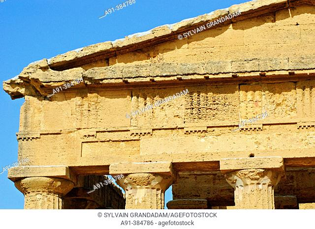 Temple of Concorde built 5th century AD in classical doric style, considered as the greek temple in best condition in the world. Agrigento. Sicily