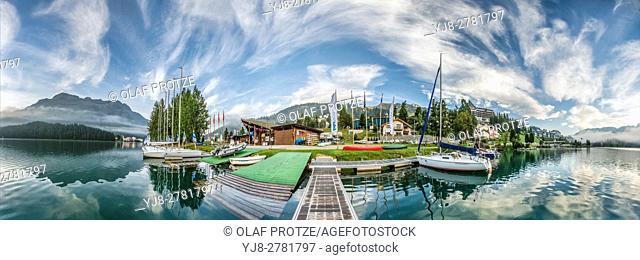 300 degree view of the waterfront of Lake St. Moritz, Switzerland