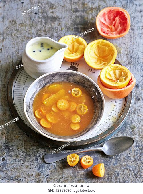 Citrus and ginger soup with juniper and vanilla sauce