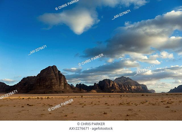 Monolithic rockscape of Wadi Rum, also known as the Valley of the Moon; Jordan