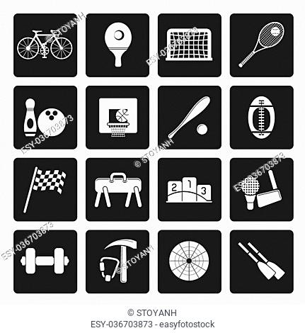 Black Simple Sports gear and tools icons - vector icon set