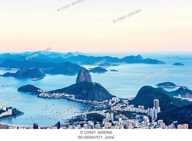 High angle view of Sugarloaf mountain, Rio de Janeiro, Brazil
