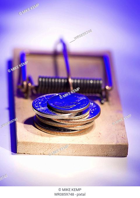 Close-up of a stack of coins on a mousetrap