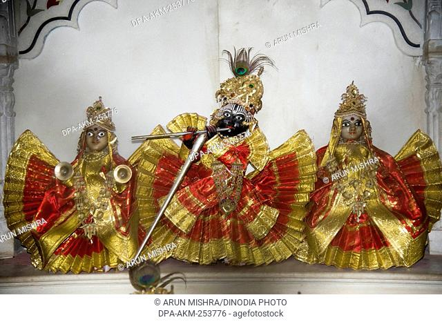 Radha krishna idol in meera bai temple, vrindavan uttar pradesh, india, asia