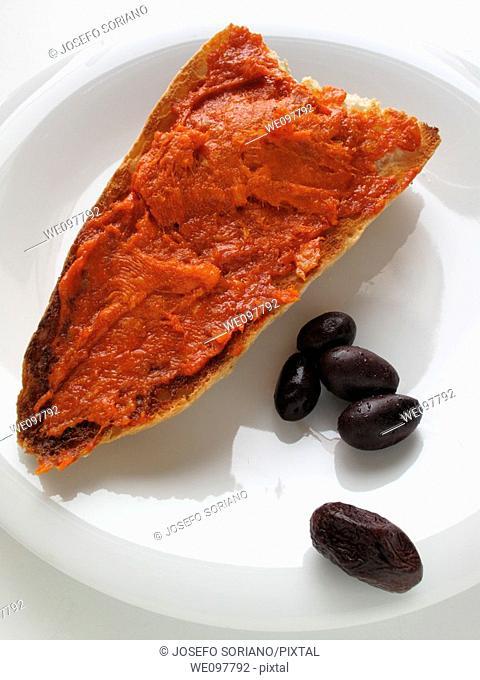 Mayorquina sobrasada toast and black olives