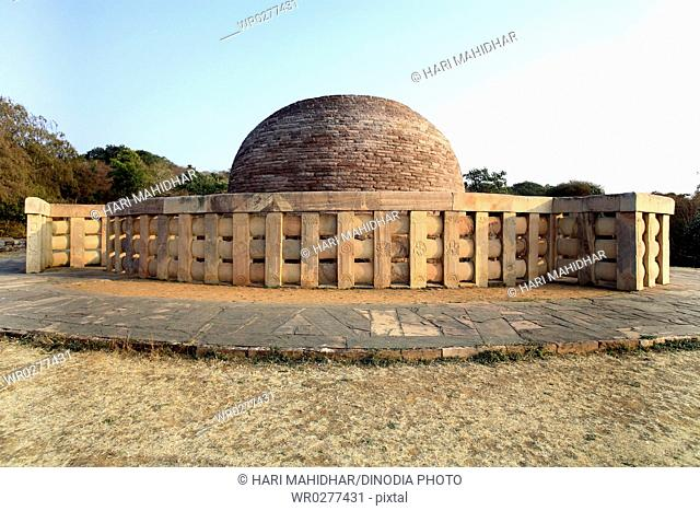 View of stupa 2 with carved medallions decorate surrounding walls , Sanchi 46Kms northeast of Bhopal , Madhya Pradesh , India