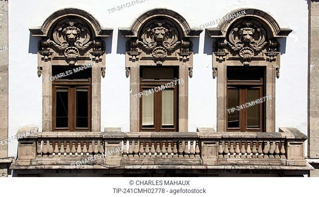 America, Mexico, Michoacan state, Morelia city, detail of a house on Madero Poniente avenue