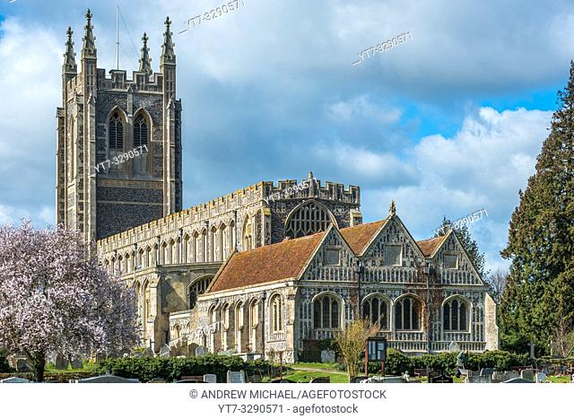 Holy Trinity Church at spring time, in the village of Long Melford, Suffolk, East Anglia, UK
