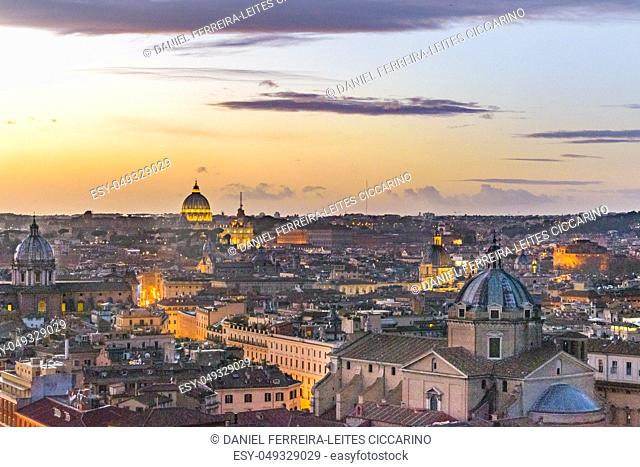 Rome sunset cityscape aerial shot from vitorio emanuelle monuent viewpoint
