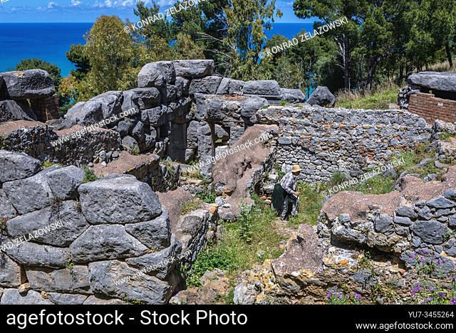 9th century temple of Diana megalithic structure on slope of Rocca di Cefalu rock massif in Cefalu city located on the Tyrrhenian coast of Sicily, Italy