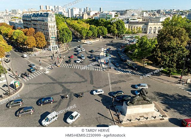 France, Paris, Denfert-Rochereau square with its center in the Lion de Belfort (aerial view)