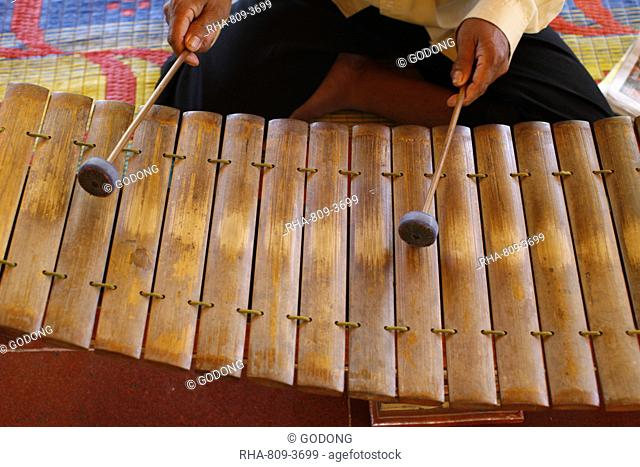Gamelan instruments in a Cambodian pagoda, Siem Reap, Cambodia, Indochina, Southeast Asia, Asia