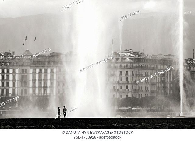 Jet d'Eau, huge fountain in the town of Geneva, located on Geneva Lake, the landmark of the town
