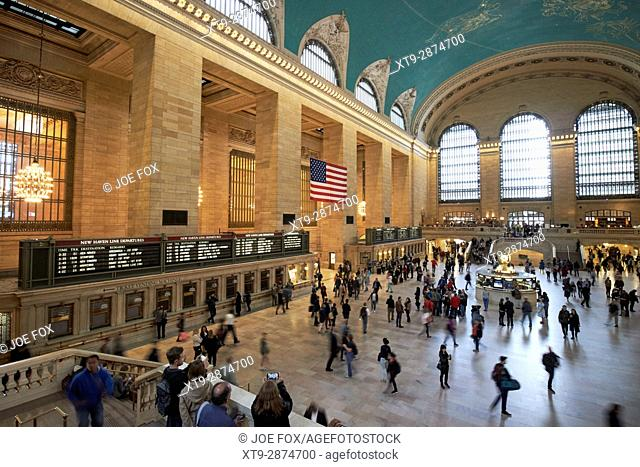 slow exposure of main concourse of grand central station New York City USA