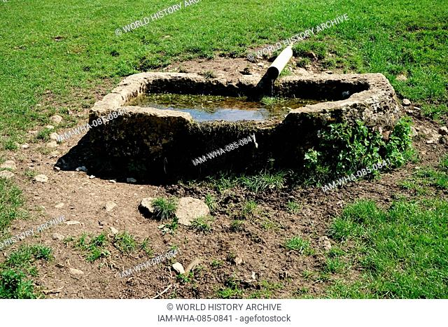 Sheep drinking trough at Chastleton House, Jacobean country house and gardens, situated at Chastleton near Moreton-in-Marsh, Oxfordshire, England