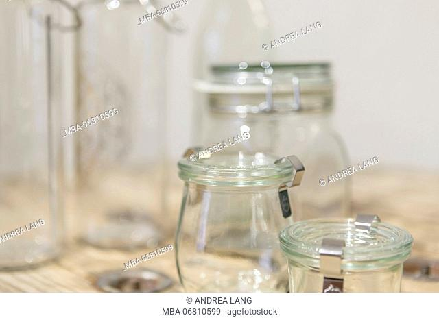 Reusable glasses from the unpackaged 'Stückgut' shop, Altona, Hamburg, Germany