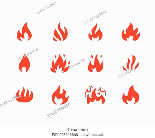 Fire flat glyph icons. Flame shapes silhouette, bonfire vector illustration, flammable warning sign, red color