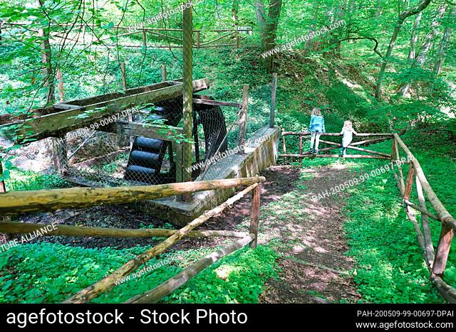 08 May 2020, Brandenburg, Falkenberg: Two children look at the water wheel in Cöthen Park. The park located between Cöthen and Falkenberg is based on an idea of...