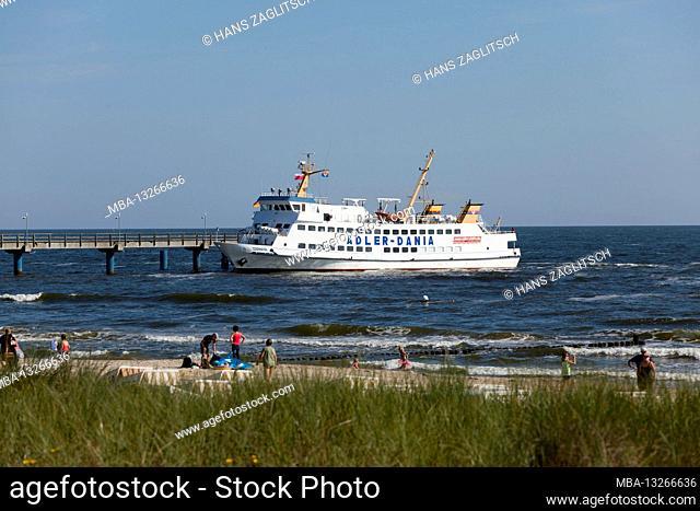 To Swinoujscie by ship, Heringsdorf, Usedom Island, Baltic Sea Coast, Mecklenburg-Western Pomerania, Germany