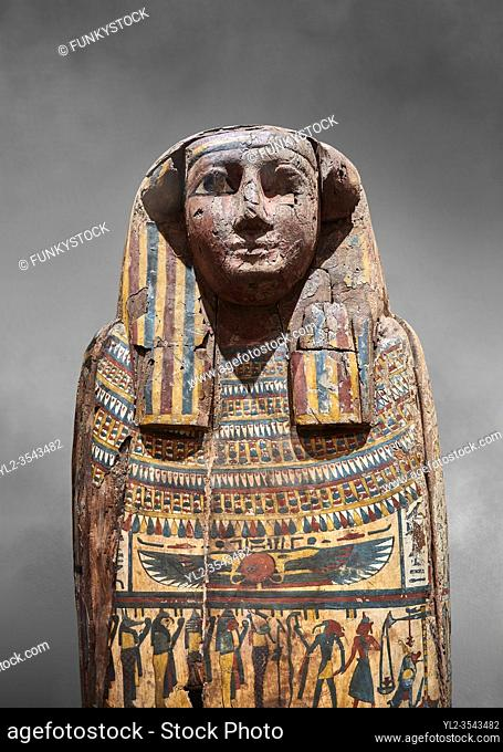 Ancient Egyptian wooden sarcophagus - the tomb of Tagiaset, Iuefdi & Harwa circa 25nd Dynasty (7th cent BC. ) Thebes. Egyptian Museum, Turin