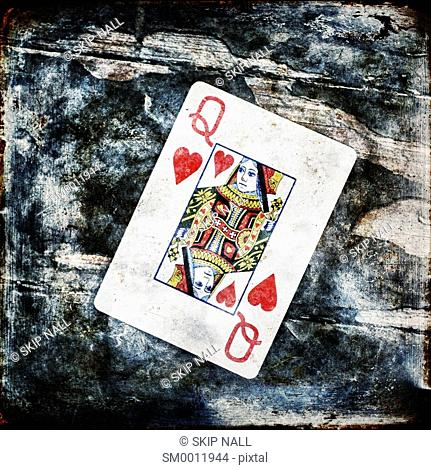 The queen of hearts from a deck of playing cards