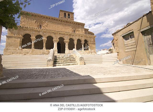 San Miguel romanesque church in San Esteban de Gormaz village Soria province Castile Leon Spain on June 11, 2017