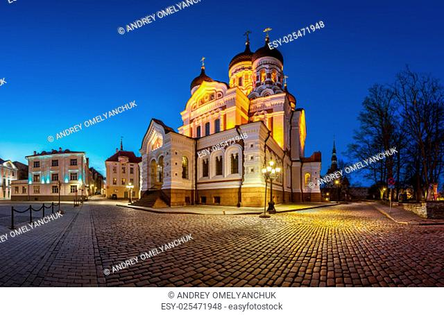 Panorama of Alexander Nevsky Cathedral in the Evening, Tallinn, Estonia