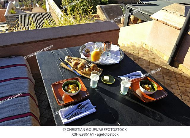 breakfast served on a terrace of the El-Fenn hotel, Marrakesh, Morocco, North Africa