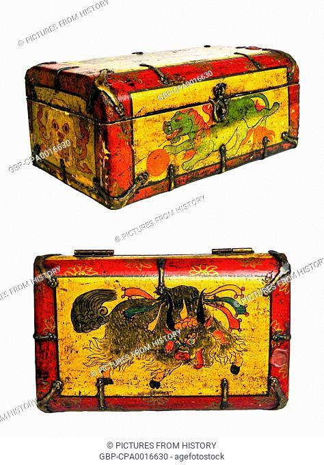 China / Tibet: A traditional painted Tibetan tea chest with a lion on the front and a yak on the top, Lhasa, c. late 19th century