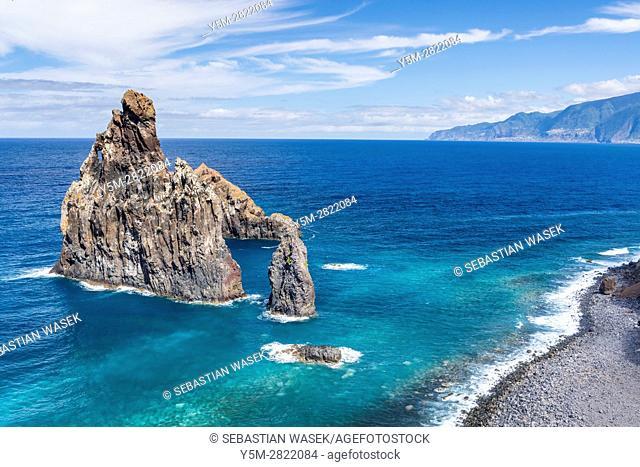 Ilheus da Ribeira da Janela at North Coast of Madeira, Ribeira da Janela, Madeira, Portugal