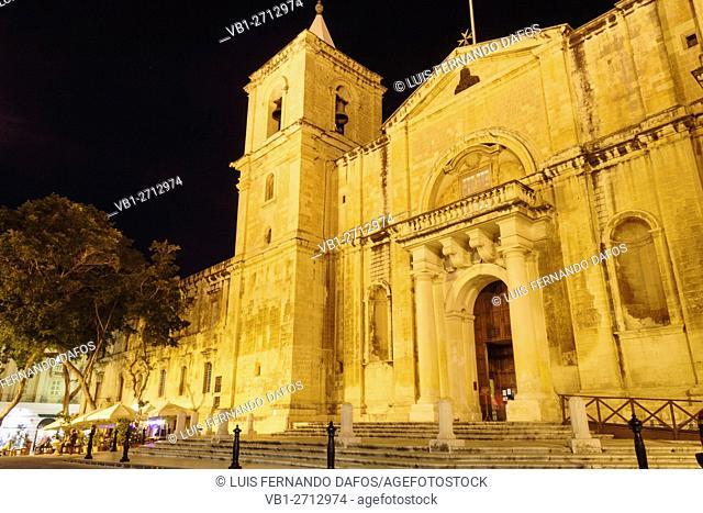 St. John's Co-Cathedral illuminated at night, Valletta, Malta