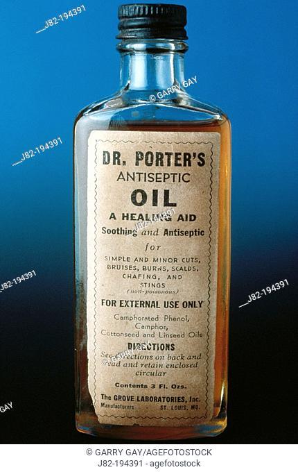 Antiseptic oil, old medicine bottle