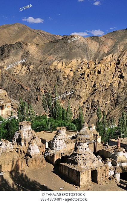 Buddhism stupas in the village at Lamayuru