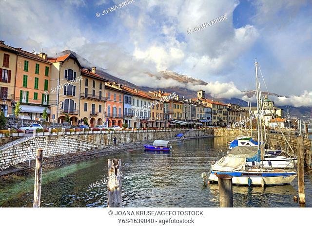 Waterfront and harbor of Cannobio, Verbania, Piedmont, Italy, Europe