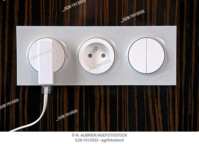 Plug in power point, and socket, in wall