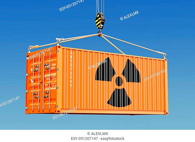 Cargo container with radioactive waste concept. 3D rendering