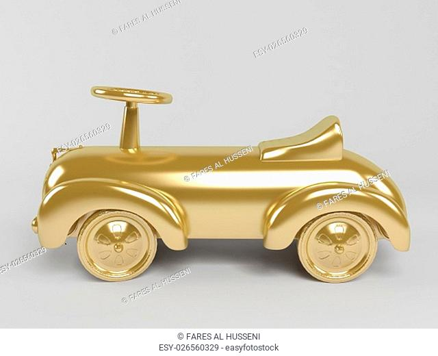 3d rendering of golden toy car isolated on white