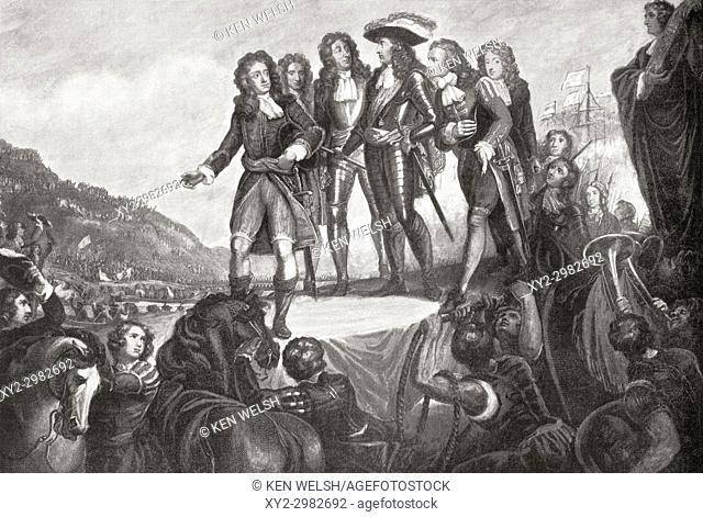 The landing of William of Orange in England in 1688. William III, 1650 to 1702. King of England and Ireland and, from 1689, as William II of Scotland