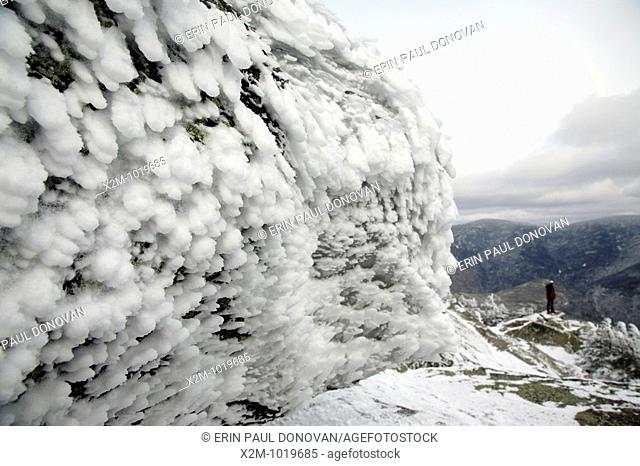 Appalachian Trail - Rime ice covers the summit of Mount Garfield during the winter months  Located in the White Mountains